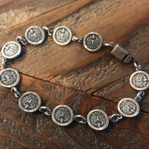Sterling Silver link bracelet with Aztec art